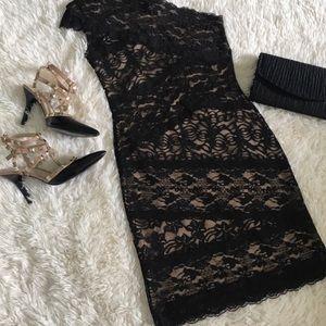 Brand new BEBE One Shoulder Black Lace/Nude Dress